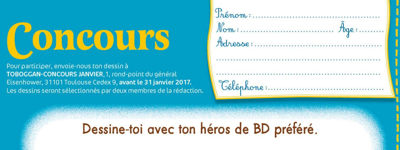 """Image Concours dessins """"Dessine-toi avec ton héros de BD préféré"""" - Toboggan Janvier 2017"""