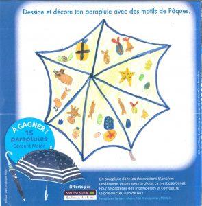 Concours du Toboggan d'avril 2017 (n° 437), « Dessine et décore ton parapluie avec des motifs de Pâques »