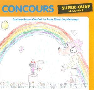 concours Toboggan HS Jeux d'avril-mai-juin 2018 (n° 33), « Dessine Super-Ouaf et La Puce fêtant le printemps. »