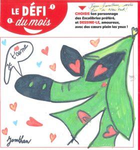 """Jonathan. G - Concours Toboggan """"Dessine ton Excalibrius préféré amoureux"""""""